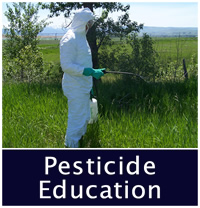 Pesticide Education decorative photo, PPE suit and spray tank.